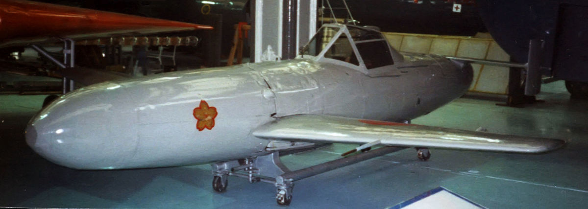 Another view of the Ohka rocket powered human-guided anti-shipping kamikaze attack plane.