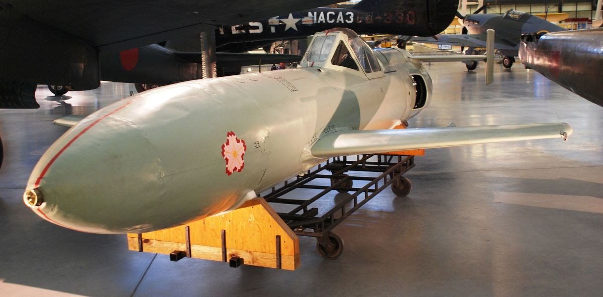 Thermo-jet powered, Model 22 Ohka at the National Air and Space Museum. It would reach speeds of over 600 mph in a dive.