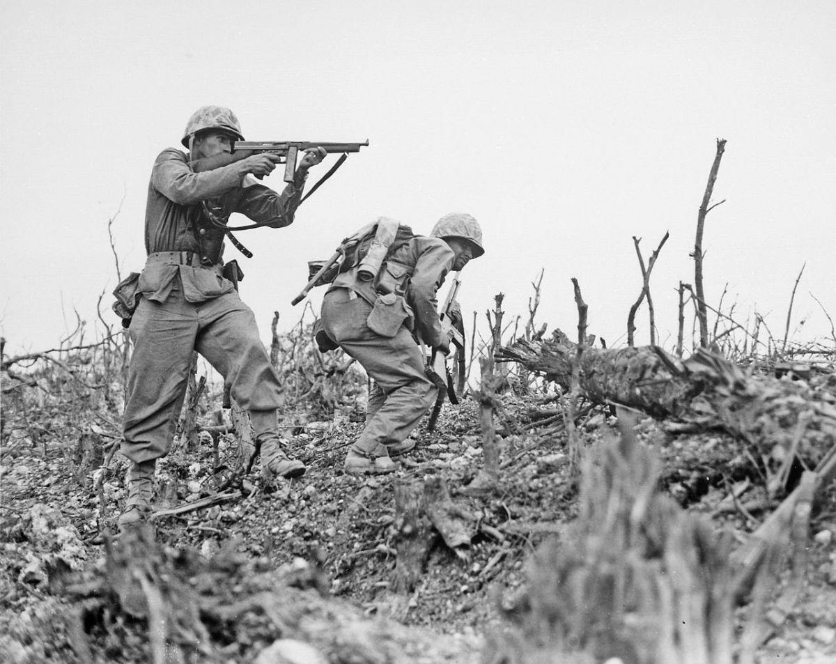 1st Marines advance on Wana Ridge May 18, 1945.