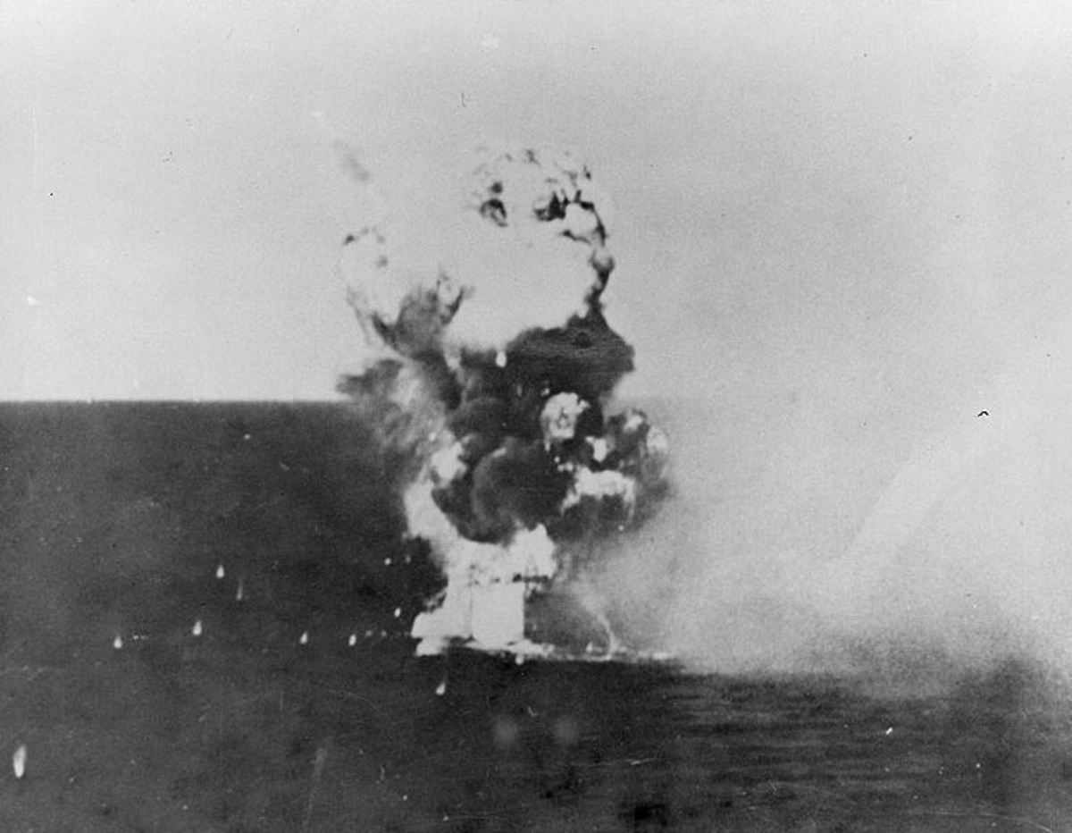 USS Columbia hit by kamikaze.