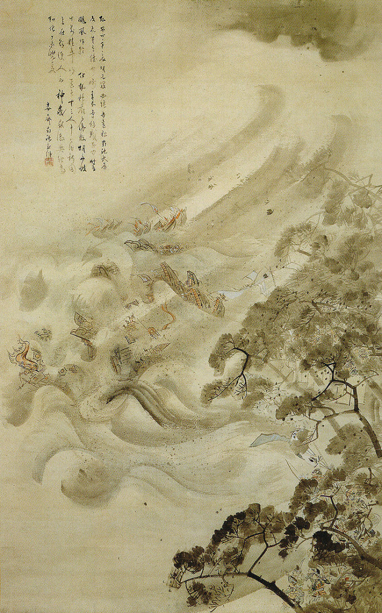 The Mongol fleet destroyed in a typhoon, ink and water on paper, by Kikuchi Yosai, 1847.