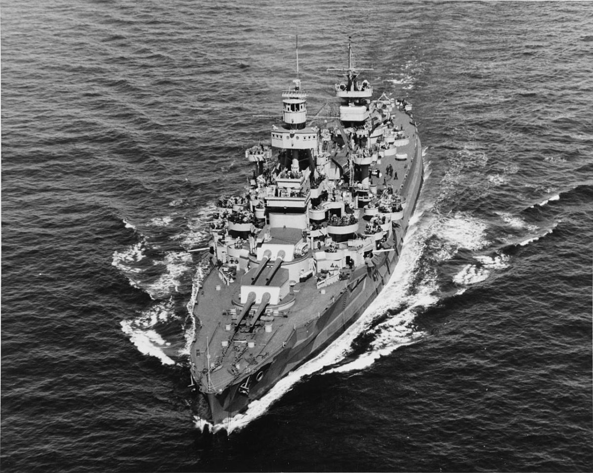 USS Arkansas with a full view of her six 14-inch cannons April 11,1944.