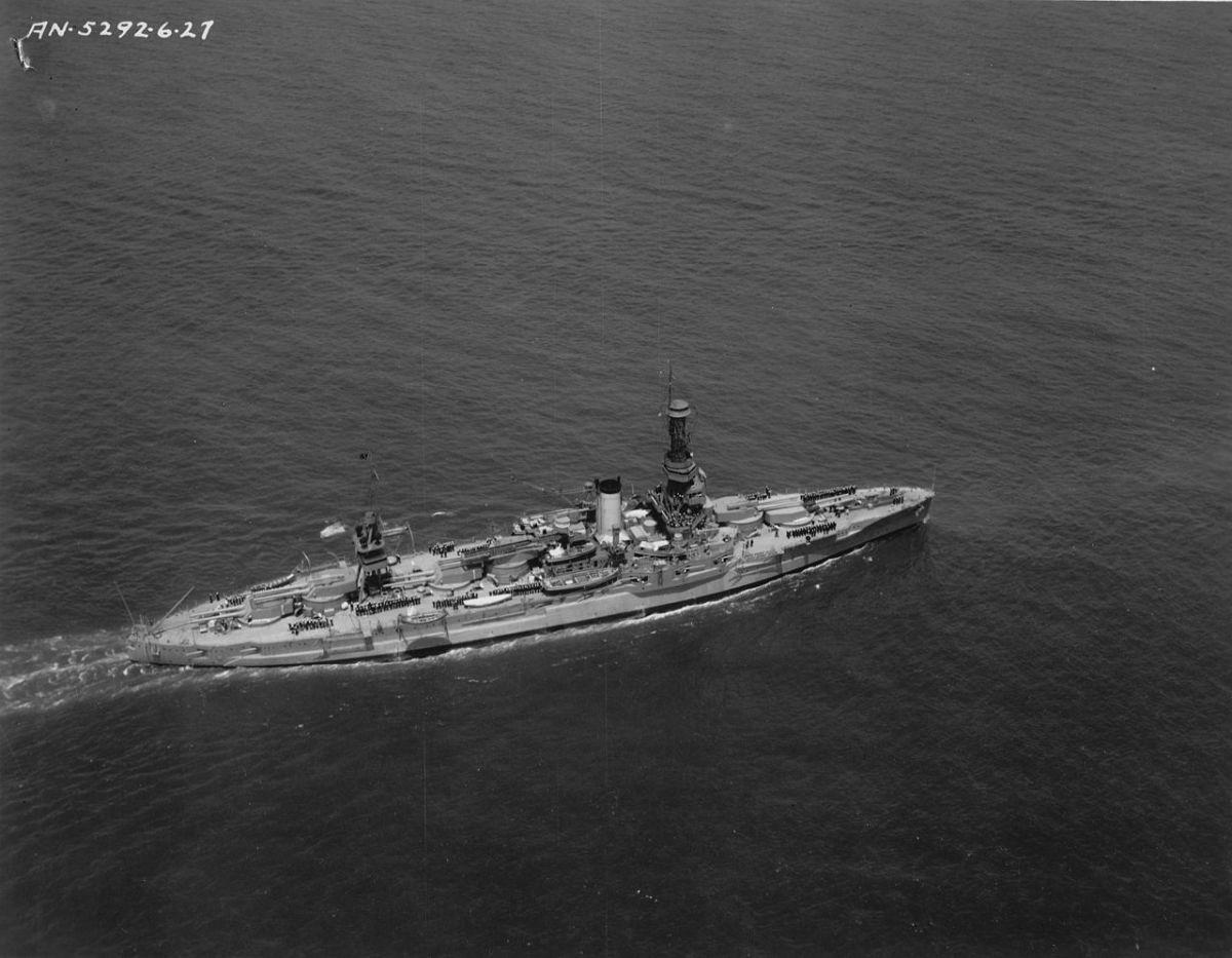 The USS Arkansas shelled the beaches of Okinawa.