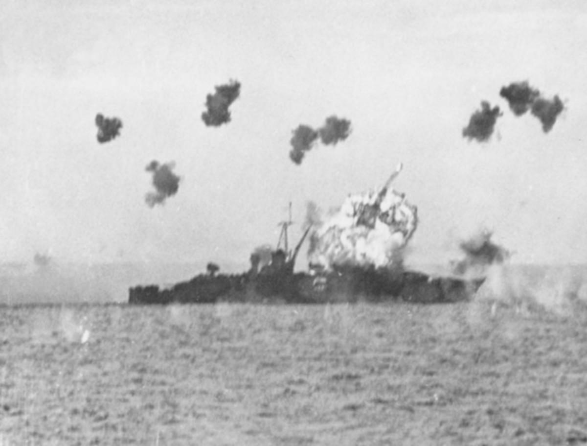 USS Louisville hit by Kamikaze.