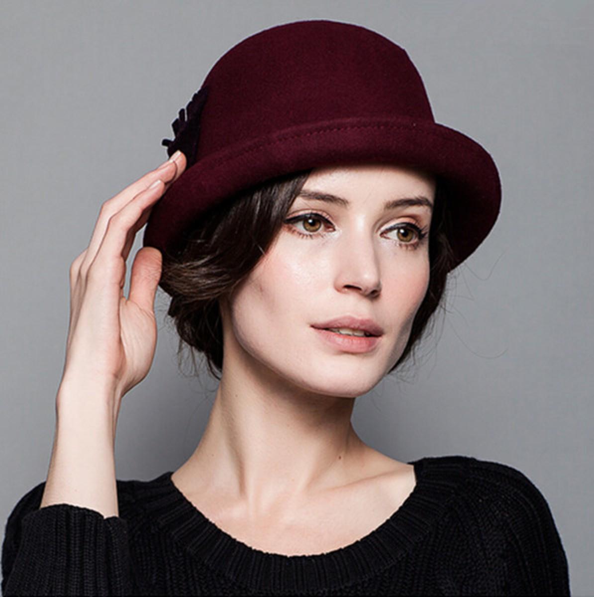 Burgundy bowler hat