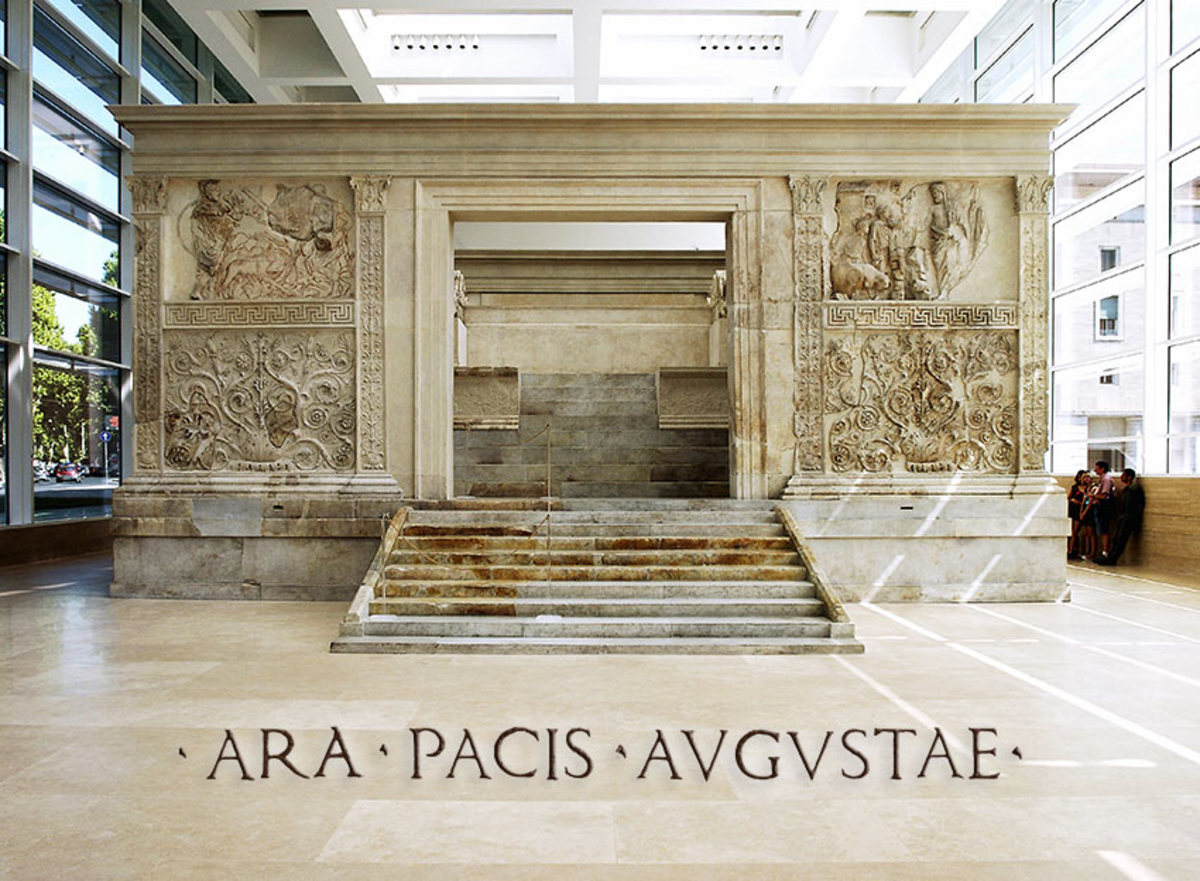 The Ara Pacis Augustae is an altar in Rome dedicated to Pax, the Roman goddess of Peace. The monument was commissioned by the Roman Senate on July 4, 13 BC to honour the return of Augustus to Rome photo July-Oct. 2008
