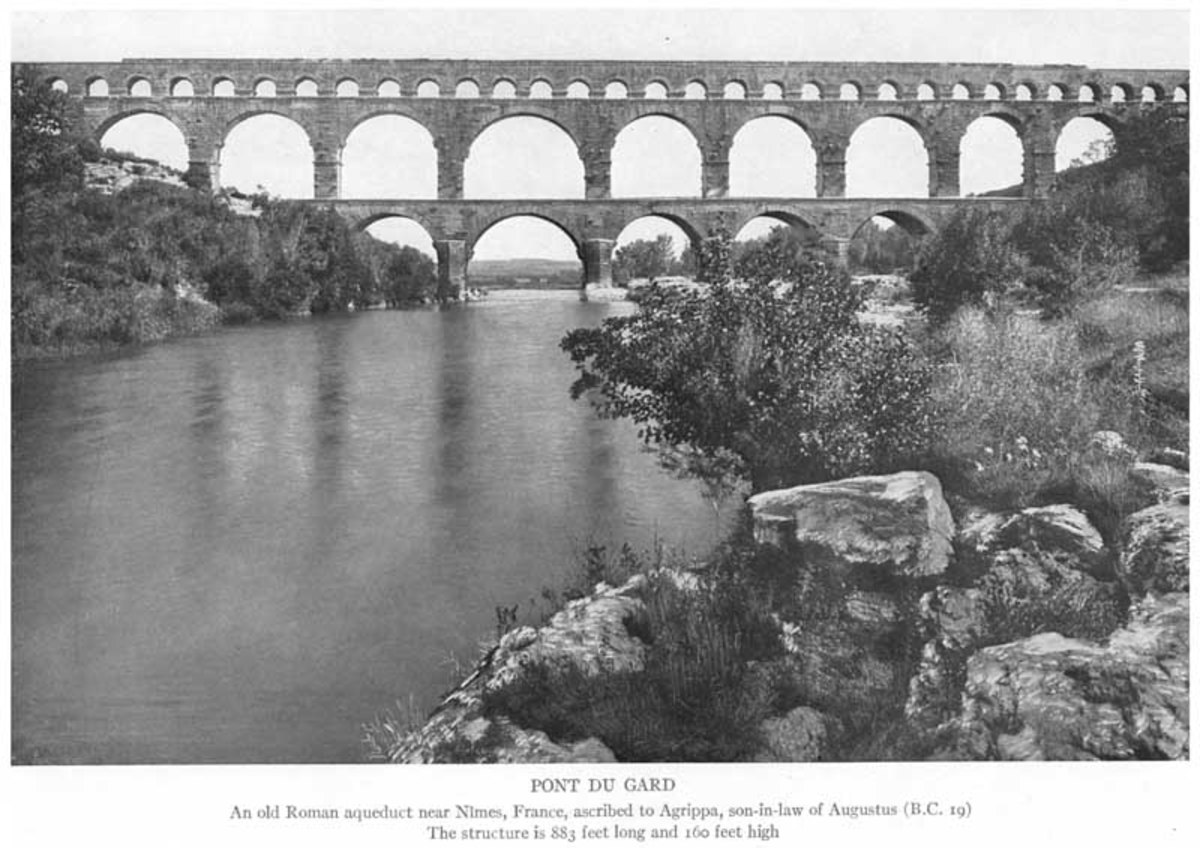 An old Roman aqueduct near Nimes, France, ascribed to Agrippa, son-in-law of Augustus (19 BCE). The structure is 883 feet long and 160 feet high. Source: Cast Iron Pipe, Standard Specifications Dimensions and Weights, 1914 (Burlington, New Jersey: US