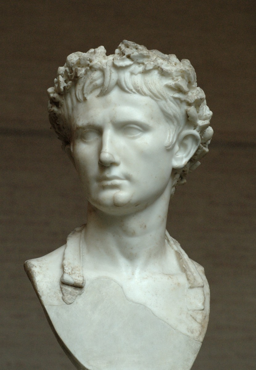 "Bust of Augustus, wearing the Civic Crown. Glyptothek, Munich. This bust depicts the Emperor Augustus shows him wearing the Civic Crown or commonly known as the ""Corona Civica"". It had the most valued honors among the Ancient Roma"