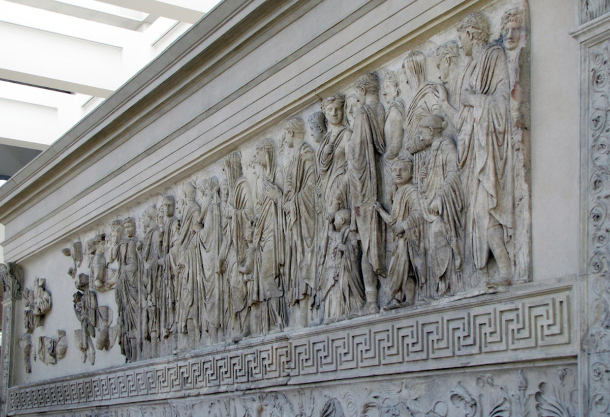 Augustus (far left) and members of the imperial household (south side), Ara Pacis Augustae (Altar of Augustan Peace) 9 B.C.E. (Ara Pacis Museum, Rome)