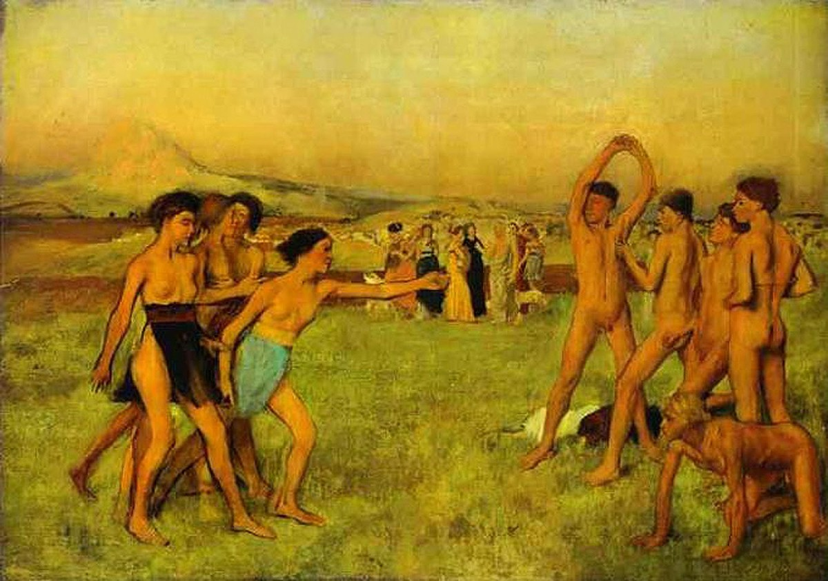After Plutarch, who tells about the ancient Spartan legislator Lycurgus. Lycurgus urged the Spartan girls to engage in wrestling. Here they urge the boys to fight. circa 1860. By Edgar Degas