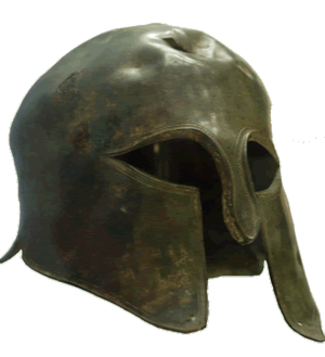 Spartan soldiers were outfitted in bronze helmets that covered the face and neck. This helmet is on display at the British Museum. The damage at the top of the helmet was probably sustained in an ancient battle.