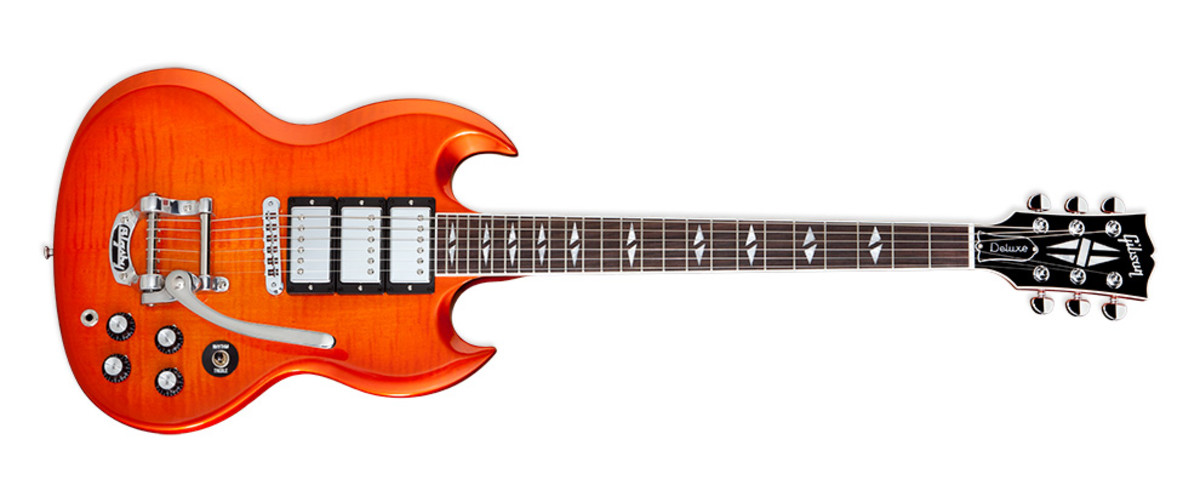 Gibson SG Deluxe In orange burst finish.