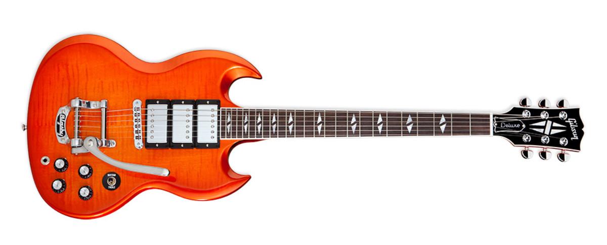Gibson SG Deluxe In orange burst finish.