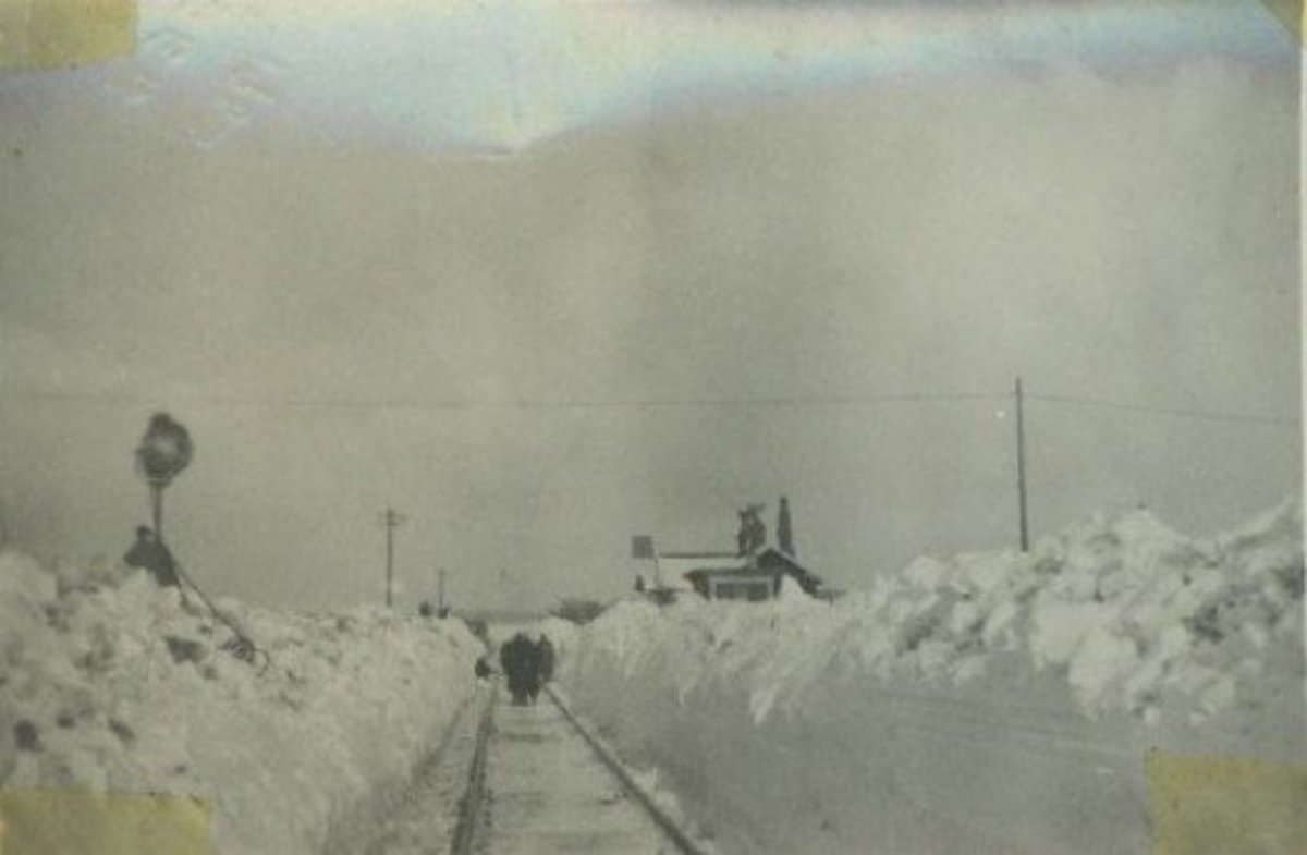 The crossing keeper's cottage, Battersby seen from the Kildale (eastern) end of the station, the single-storey cottage almost invisible under mountains of snow - the early square board signal is clearly visible