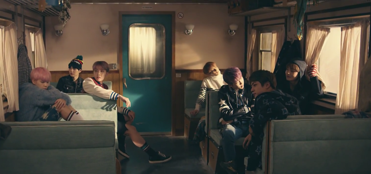All of the BTS members together in the train.