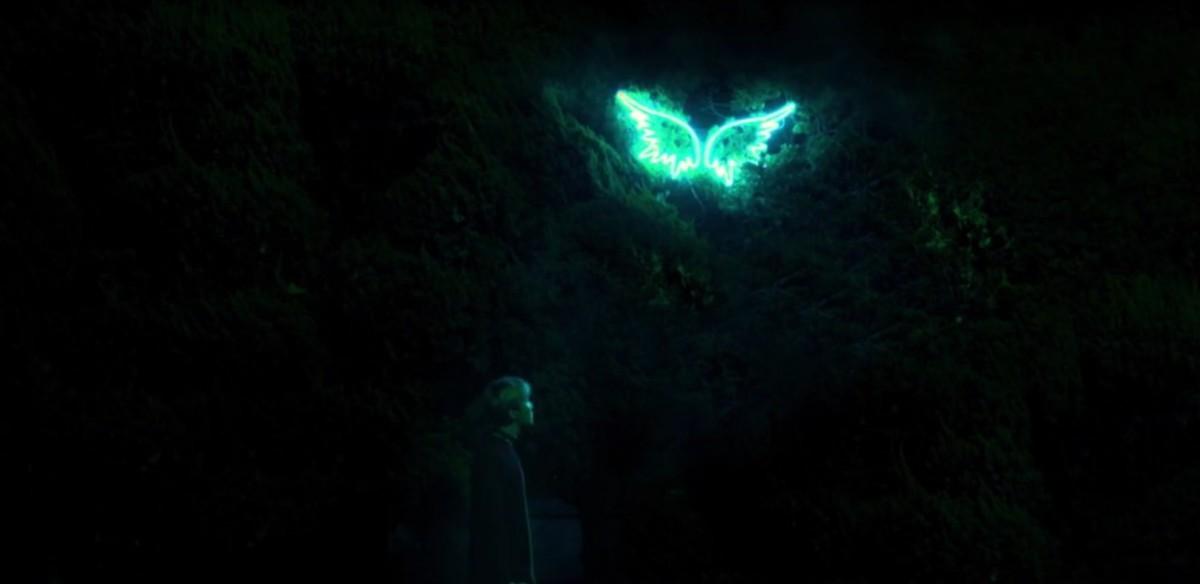 J-Hope looking at the wings.