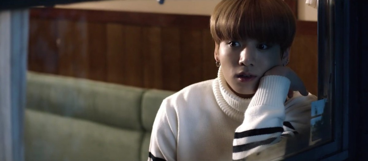 Jungkook surprised by the vision he saw.