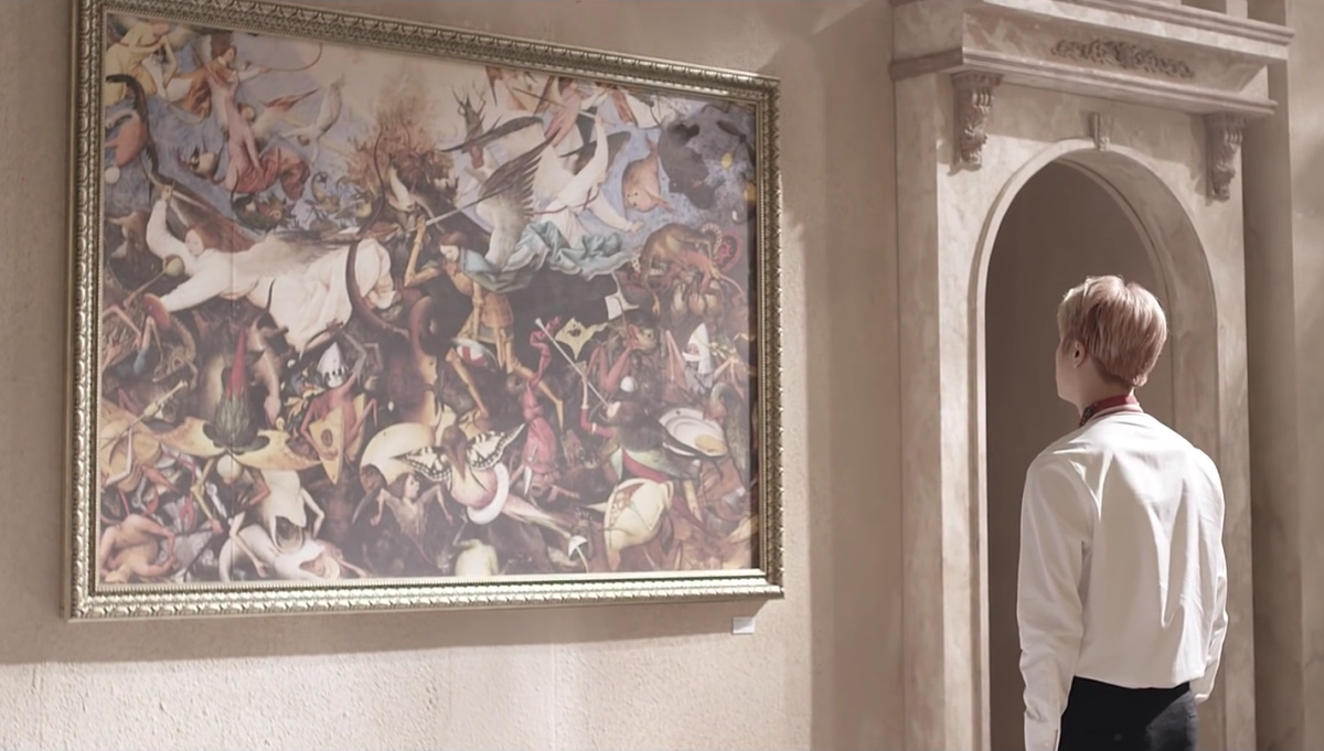 "Jin watching the painting ""The Fall of the Rebel Angels""."