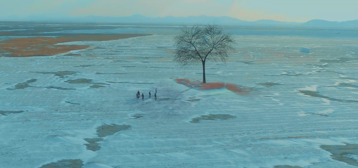 The six boys looking at the tree and Jin, who is missing, passed away in peace.
