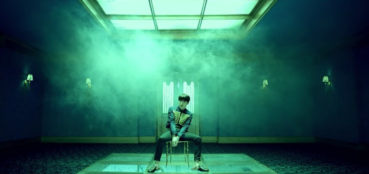 Suga in a room with smoke constantly coming inside.
