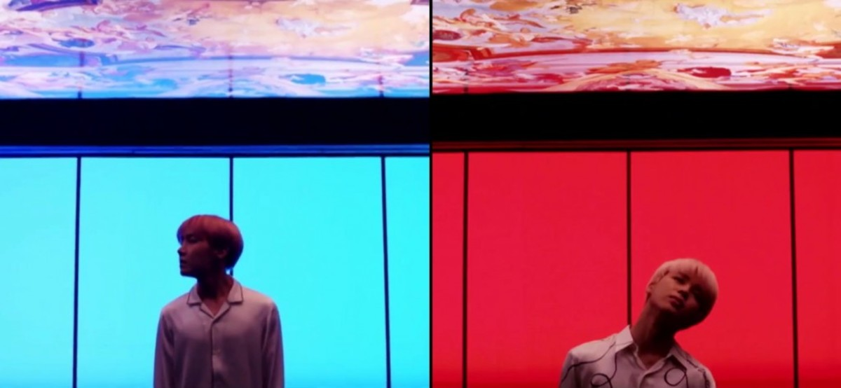 J-Hope with the blue background behind him, and Jimin with the red background behind him.