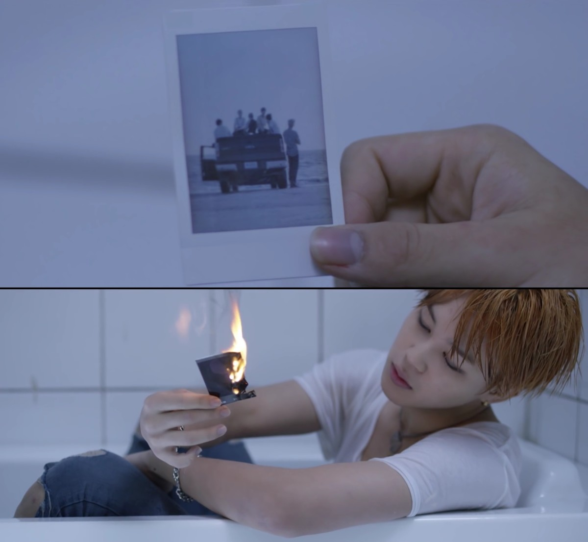 "Jimin burning the picture of that shore in ""Run""."
