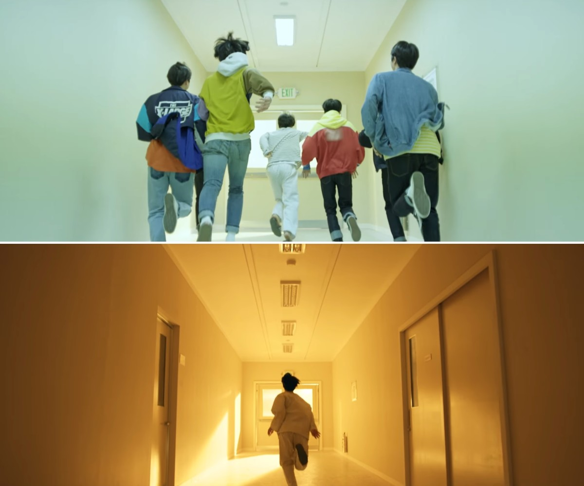 Jimin's imagination where he is with the boys  and the reality where he is alone.