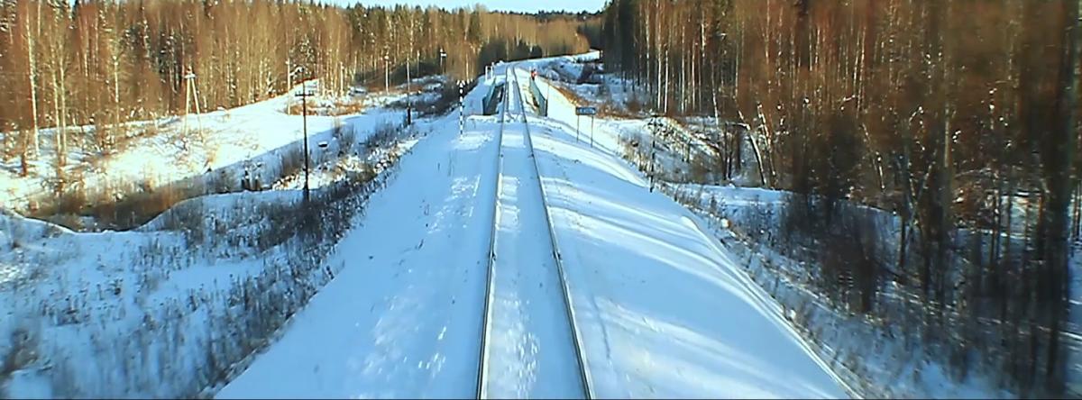 The scene when the train starts running at 0:35.