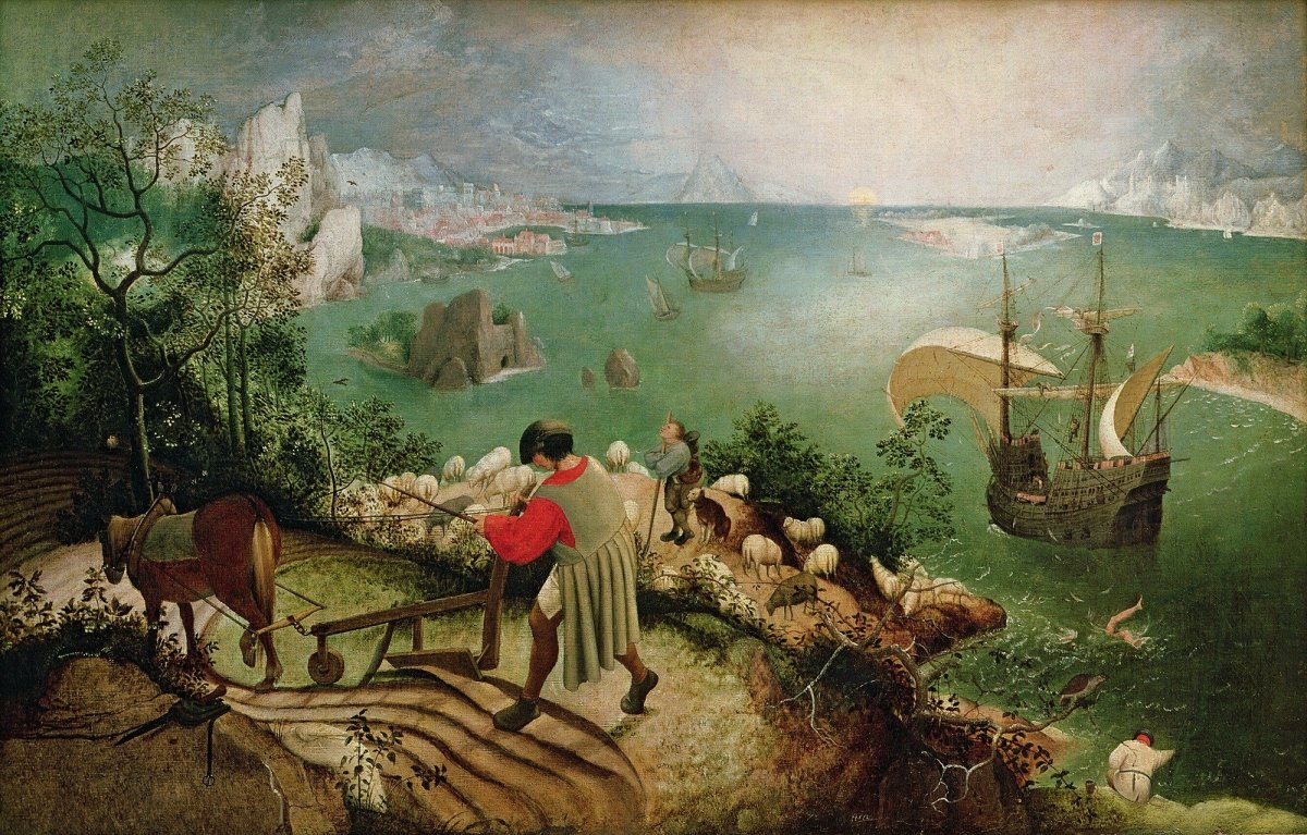"The painting ""Landscape with the Fall of Icarus""."