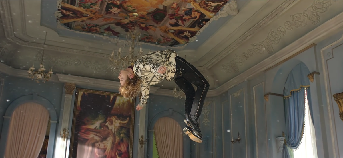 Jungkook hanging in the air.