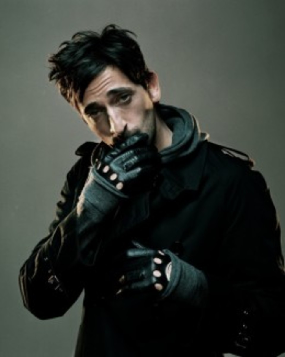 Adrien Brody with leather driving gloves
