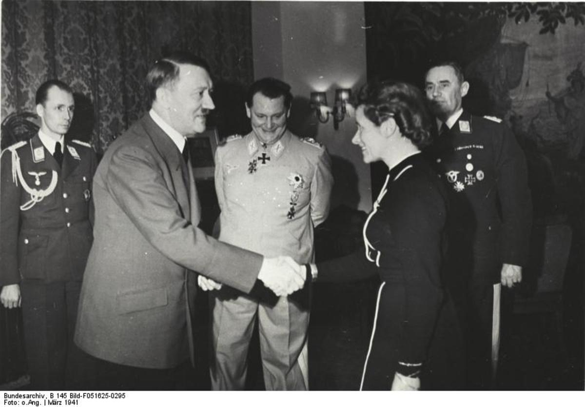 Hanna Reitsch being given the Iron Cross 2nd Class by Adolf Hitler.