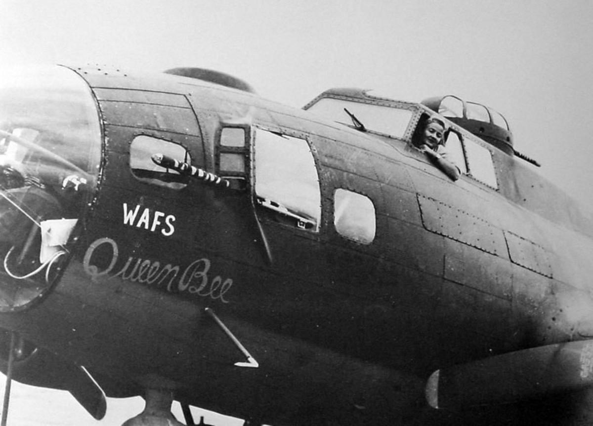 """Nancy Harjbess Love in the pilot's seat of the B-17 """"Queen Bee"""""""