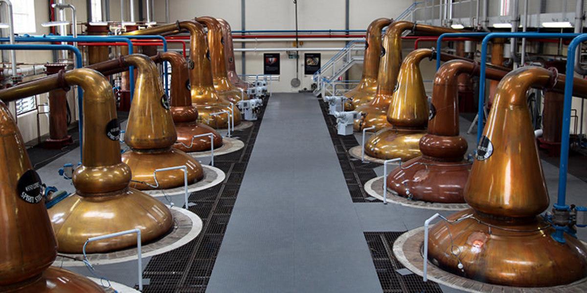 An industrial distilling set-up.