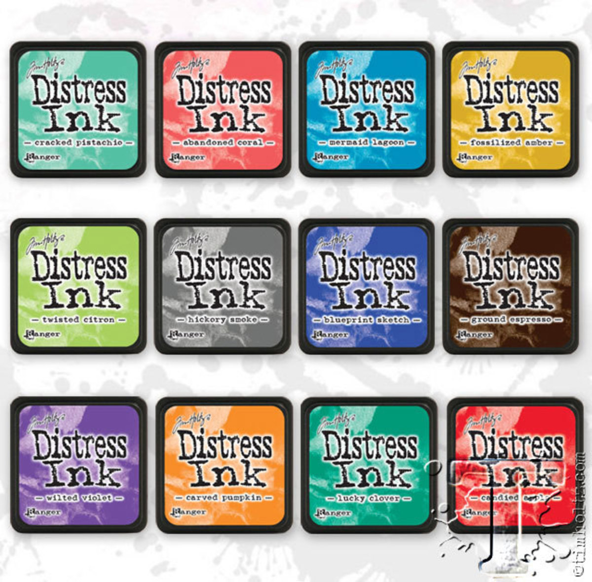 """Distress ink pads come in two sizes-1""""by1"""" and 3"""" by 3"""" both are in black cases"""