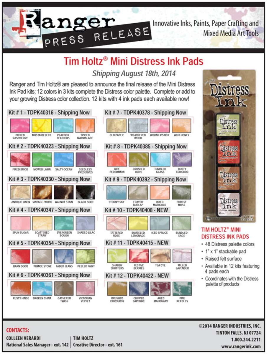 There are enough shades of distress inks to keep your color combinations fresh