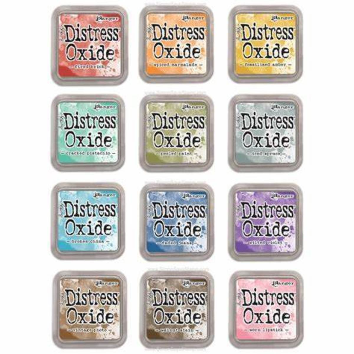 """Distress oxide inks are known by their gret case. They come only in 3"""" by 3"""" size"""