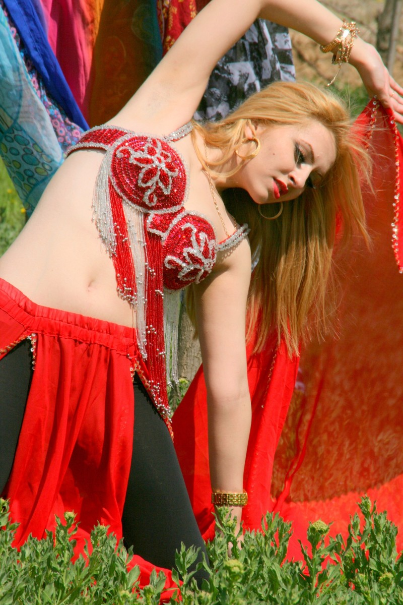 A dancer showing the flexibility of her upper body.