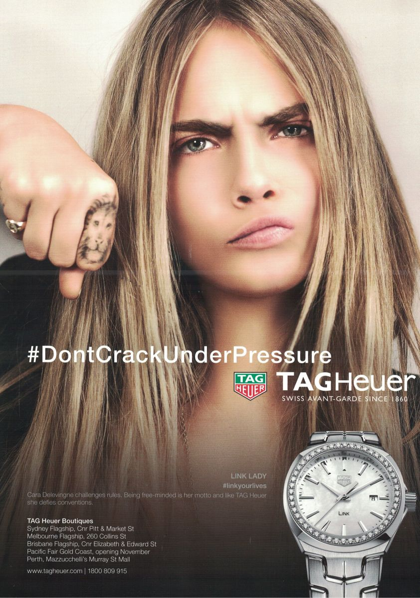'Don't crack under pressure', TagHeuer ad, Marie Claire, no.256, December 2016, back cover.