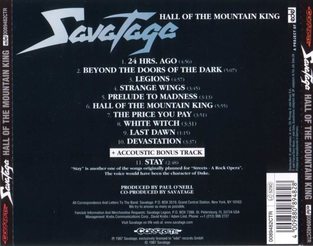 "Review of the Album ""Hall of the Mountain King"" by American Heavy Metal Band Savatage"
