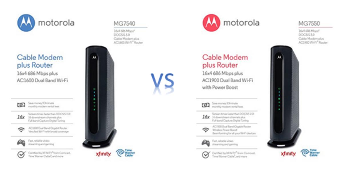 Left - Motorola MG7450 and Right - Motorola MG7550 specs