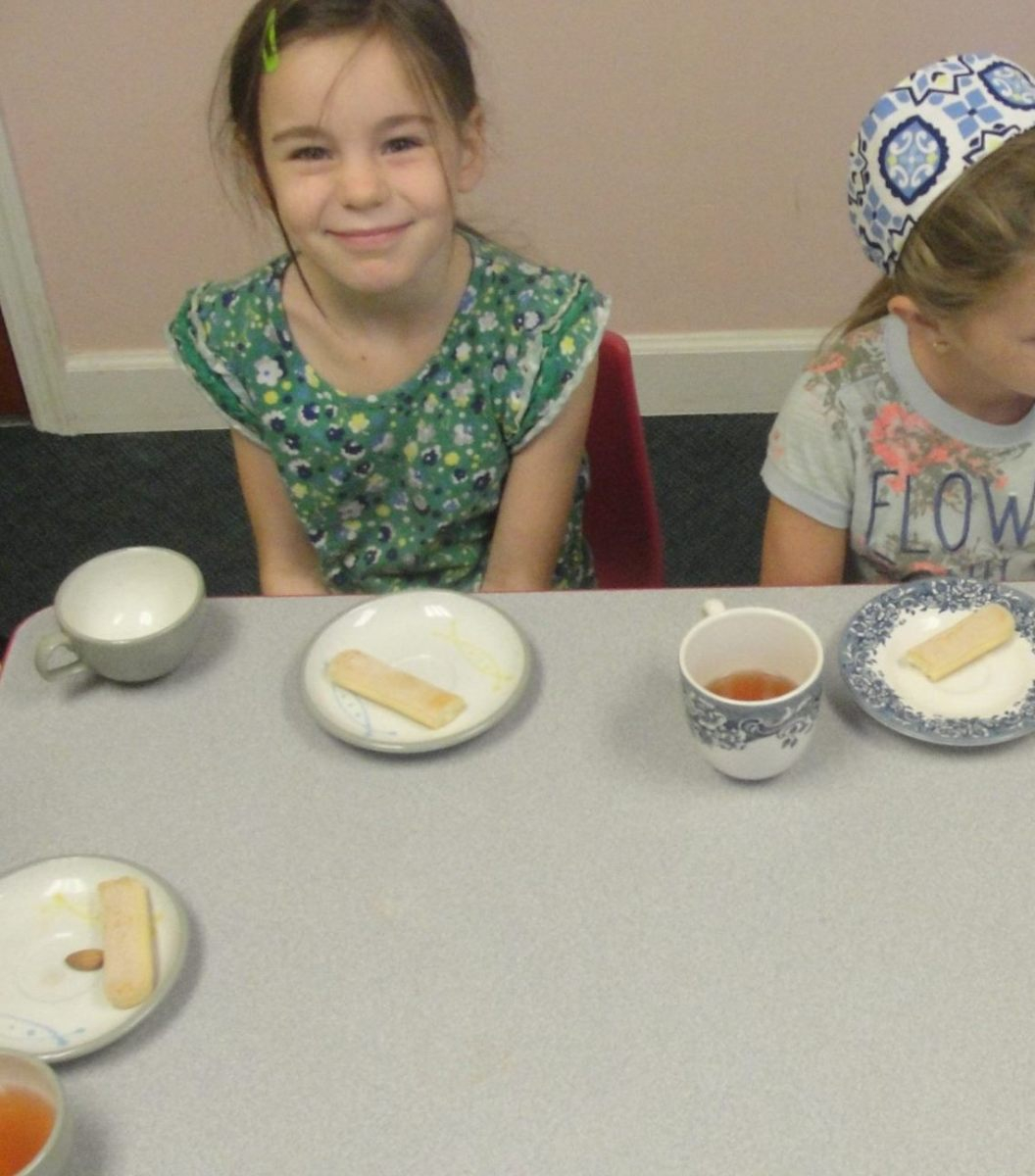 Enjoying a colonial tea party