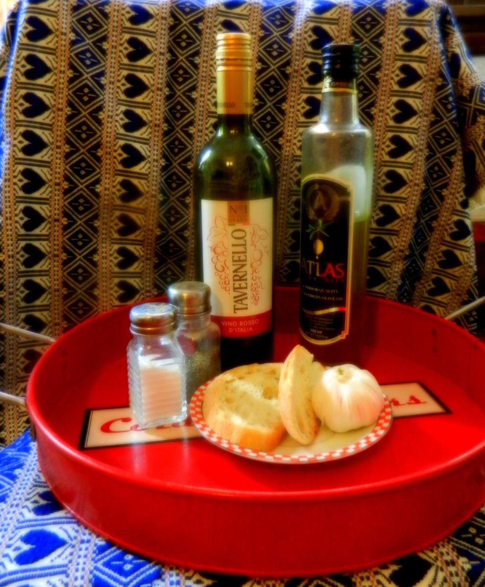 Ingredients for Istrian Soup. The tablecloth in the background is of the heart and checker pattern traditional to Croatia.