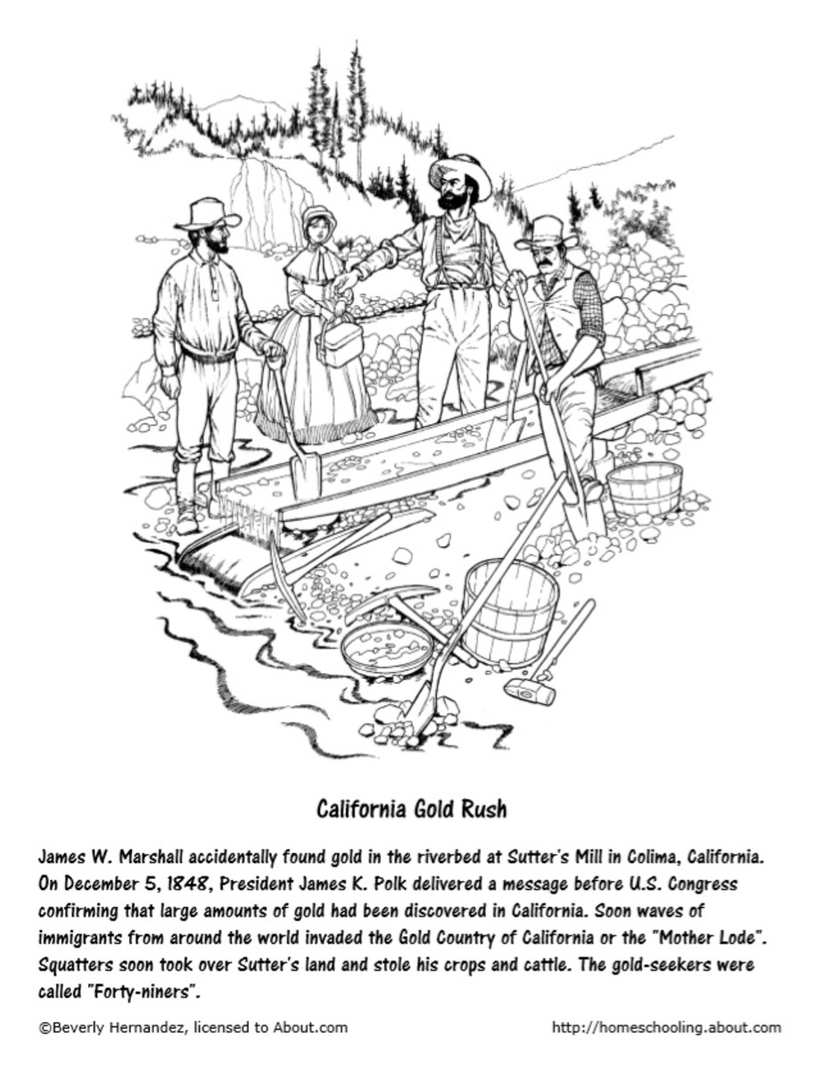 California Gold Rush Coloring Page from https://www.thoughtco .com