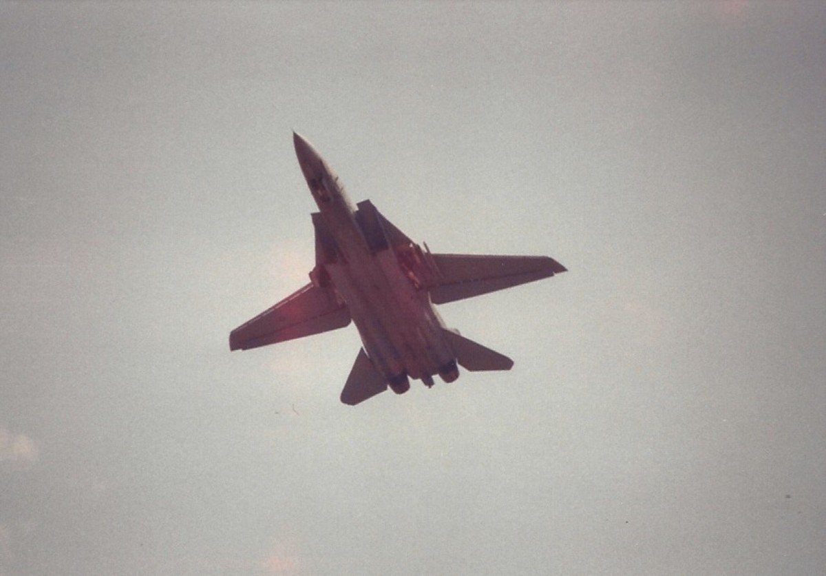 An F-14 during a flight demonstration at Andrews AFB, MD.
