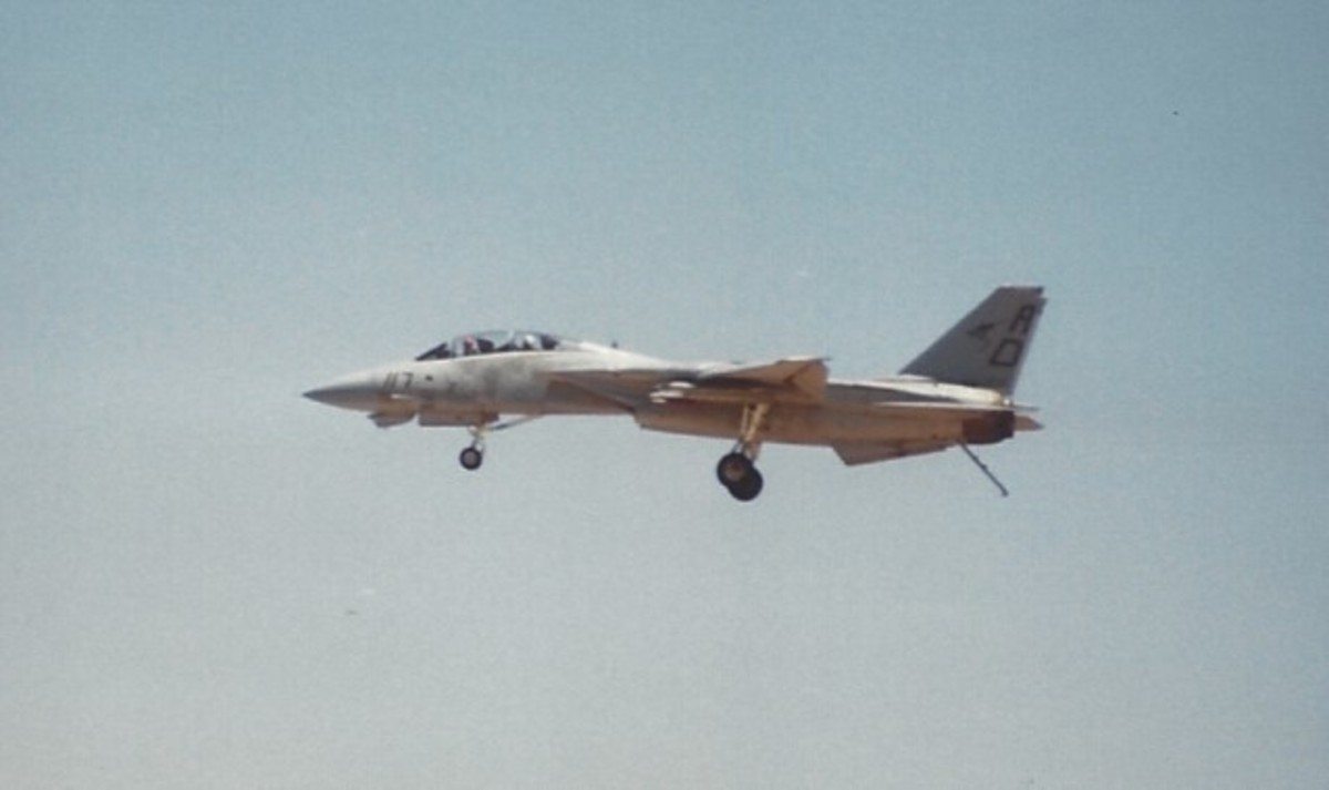 An F-14 with its wings extended, landing gear and tail hook down.