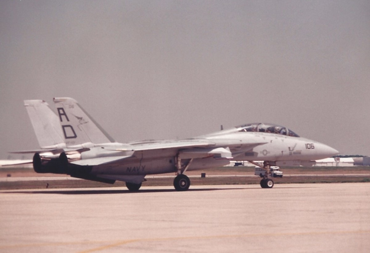 An F-14 after an aerial demonstration at Andrews AFB, MD.