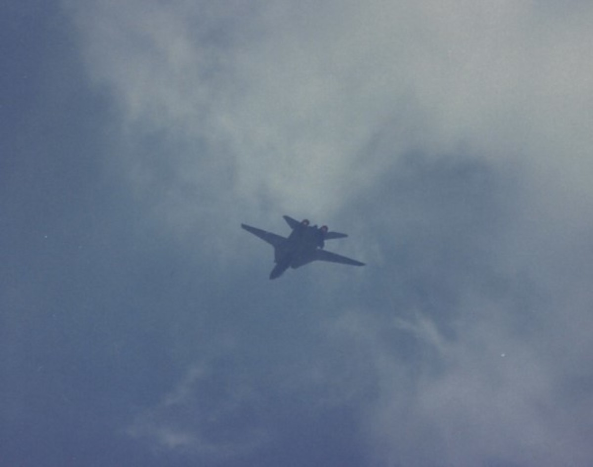 An F-14 flying inverted.