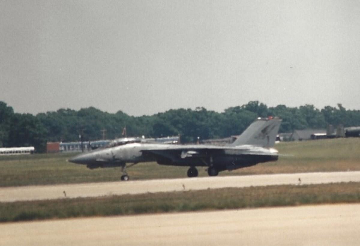 An F-14 taxiing.