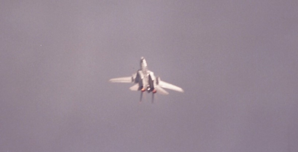 An F-14 inverted.